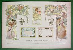 NAME CARDS Art Nouveau Design - 1898 COLOR Litho Print Dekorative Vorbilder…
