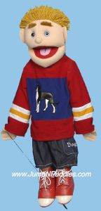 Full body - Yellow-haired boy in red/blue Puppet
