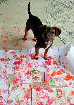 A happy little painter :) #paint #puppy #paws