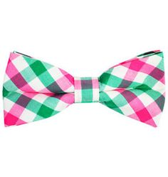 Green, Pink and White Plaid Cotton Bow Tie by Paul Malone | eBay My #APhiA husband and #FutureAlph needs this in their wardrobe.