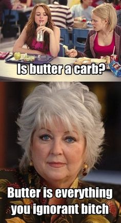 I've seen this so many times, and I still burst out giggling every time. Paula Deen's incredibly stern expression does it.