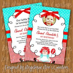 Raggedy Ann Invitations by jayarmada on Etsy Bday Girl, Girl First Birthday, Baby Birthday, Birthday Ideas, Summer Birthday, First Birthday Parties, First Birthdays, Kids Party Themes, Party Ideas