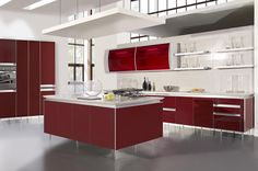 Yellow Kitchen Wall Paint Color With Glossy Wooden Cabinet Also