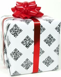 Wrapping paper. Additional greetings via QR code