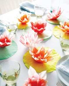 Accent your dinner table or buffet with these gorgeous coffee filter water lillies! {Martha Stewart} #LiveOffTheMenu #Sanpellegrino