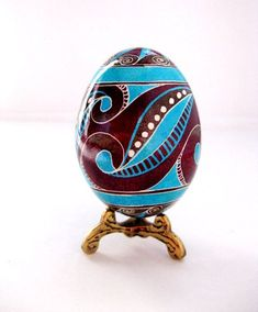 Blue brown  Pysanka, batik egg on chicken egg shell, Ukrainian Easter egg, hand painted egg made to order. $21.95, via Etsy.