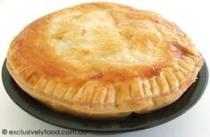 Meat Pie Recipe A shortcrust pastry base and puff pastry lid enclose tender pieces of beef in a flavorsome gravy. Scottish Meat Pie Recipe, Scottish Recipes, Irish Recipes, Meat Recipes, English Recipes, Australian Recipes, Dinner Recipes, Savory Pastry, Shortcrust Pastry
