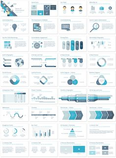 Digital marketing presentation template in flat design style including 36 slides. This theme is perfect for presentations on SEO, SMM, etc.