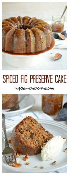 Fig Preserve Cake Recipe - Pour a cup of coffee and slice into this Spiced Fig Preserve Cake; a sticky sweet spiced bundt cake packed with luscious fig preserves! Fig Recipes, Pound Cake Recipes, Dessert Recipes, Cooking Recipes, Cooking Tips, Burger Recipes, Fig Preserve Cake Recipe, Cupcakes, Cake