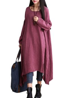 SUFEI Women's Maxi Casual Linen Dress Long Sleeve One Size Red