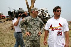 David Freese taking in all of the damage that was done by the tornado in Joplin Mo. 2011