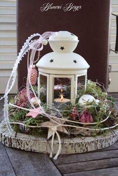 Een mooi en sfeervolle decoratie in ieder huis kan zo wel voor de herfst / kerst Lantaarn op boomschijf