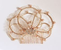 Image of Valarie Layered Lace Champagne Pearl and Gold Rhinestone Comb