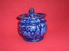 Historical Staffordshire Dark Blue Sugar Bowl Parrot Round Ca. 1825 Nice