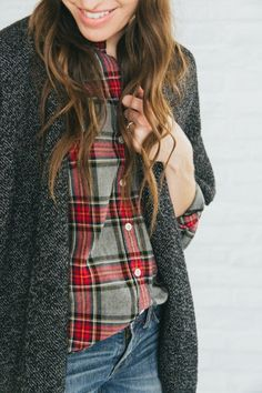 Oversized cardigan or shawl over plaid and jeans