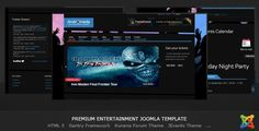 Andromeda - Entertainment Joomla Template . Andromeda is a flexible Joomla 1.7 template created with entertainment websites in mind. It has custom themes for essential extensions like the news sliders, events calendar and