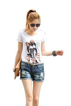 Egarden Womens Sexy Hight Waist Distressed Cut Off Ripped Jean Shorts 2929801Dark Blue *** You can get more details by clicking on the image.