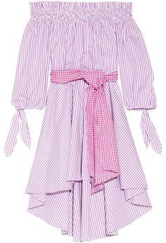 Caroline Constas Lou Off-the-Shoulder Striped Cotton Oxford Dress