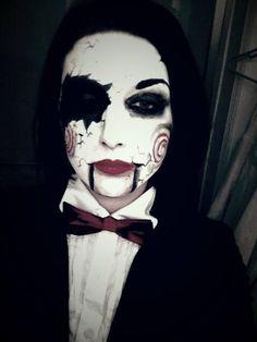 Jigsaw costume. Broken puppet facepaint.