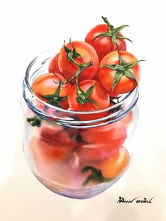 Tomatoes in a jar Watercolour painting Artist Kitipong Maksin Food Painting, Pencil Painting, Color Pencil Art, Artist Painting, Watercolor Fruit, Watercolor And Ink, Tomato Drawing, Foto Macro, Vegetable Painting