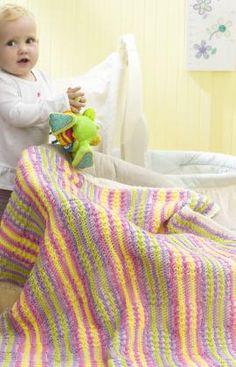 Free Crochet Wavy Stripes Baby Blanket Pattern.