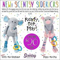 "New for fall and winter 2016.....Scentsy ""Sidekicks""! Engaging sensory fun scented in ""Newborn Nursery"" #kids #sidekicks #scentsbykris"