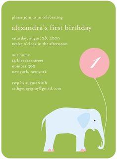 Birthday Party Invitations Elephant Balloon - Front : Meadow
