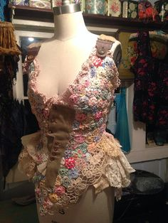 Crazy reclaimed yoyo quilt tattered doll shirt by thewindowlady A dealer at Alameda Point