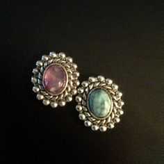 "PAIR Purple or Blue Stone small round gauges plugs 0g - 8mm 00g - 10mm 7/16"" - 11mm 1/2"" - 12mm"