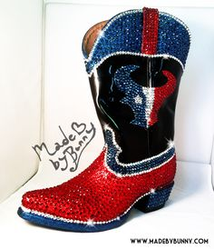 Houston Texans Blinged out Cowboy Boots Houston Texans Football, Football Cheer, House Divided, Cowboy Boots, Heeled Boots, Nfl, Kicks, Texas, Shoe