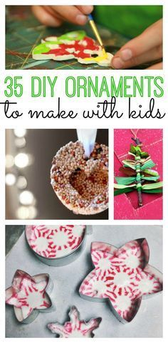 35 DIY Ornaments to Make with Kids! Perfect ornaments to trim your tree or to give as gifts! #diy #ornaments