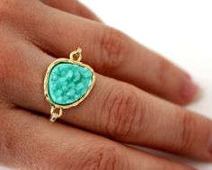 Druzy mint ring 14kt gold filled  custom size by anthology27,