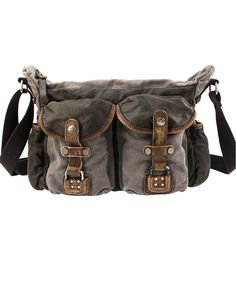 Retro Rectangular Canvas Bag with Leather Belt Detail