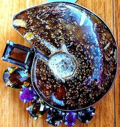 Amy Kahn Russell sterling, multigemstone and dendritic ammonite fossil pin/pendant