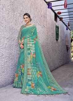 Buy Sareetag Green Latest Designer Linen Party Wear Saree in USA, UK, Canada. Get the best designer collection of Cotton, Silk, Linen, Georgette, Wedding and bridal Saree. »Express Shipping »100% Original »Customize Stitching.