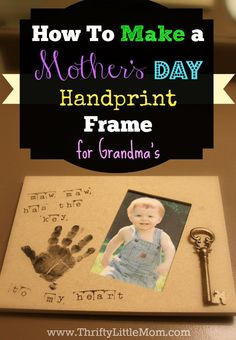 Make your own handprint frame personalized with your child's grandma's nickname for under $10!  Simplest project with step by step picture instructions and supply list! Create a simple mother's day handprint craft that will last for years to come. This simple handprint mothers day craft is REALLY easy.