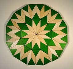 how your pattern - a dodecagon with pattern block triangles and diamonds