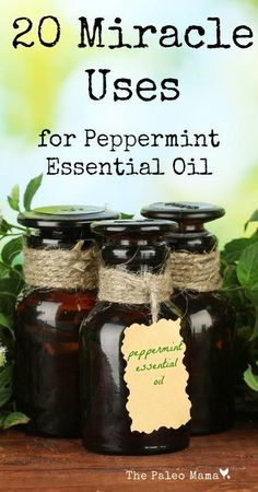 20 Miracle uses for peppermint essential oil: http://thepaleomama.com/2014/01/20-miracle-uses-peppermint-oil/