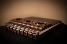 Hand made notebook with wooden cover.