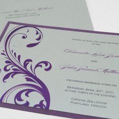 Elegant Modern Wedding Invitation in Purple and Silver with Pocket ...... | DowntoEarthPaperworks - Wedding on ArtFire