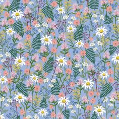 Wildwood - Wildflowers - Blue Fabric - Rifle Paper Co. - Cotton and Steel Fabrics - Fabric By The Ha