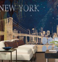New York Brooklyn Bridge Nightlife Wall Mural. MP4856M