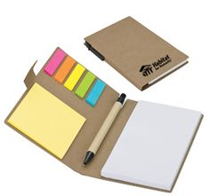 Eco-Friendly Recycled Pen, Note Pad, Flag Set $4.40