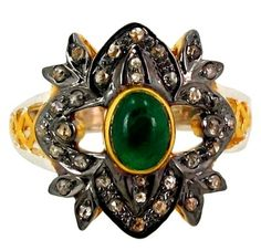 0.70 CT DIAMOND EMERALD RING VICTORIAN STYLE ART DECO WEDDING ENGAGEMENT