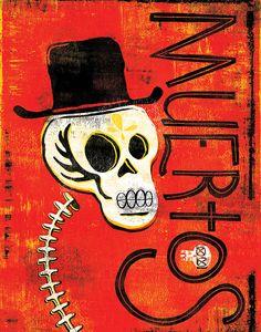 Day of the Dead Calavera Muertos Folk Art Print