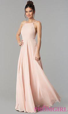 High Square Neck Long Chiffon Prom Dress