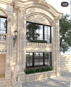 The smooth, glossy finish to the lion set against the rough, unpolished finish of the architecture is fire. Classic House Exterior, Classic House Design, Modern House Design, Villa Design, Facade Design, Exterior Design, House Outside Design, House Front Design, Neoclassical Architecture