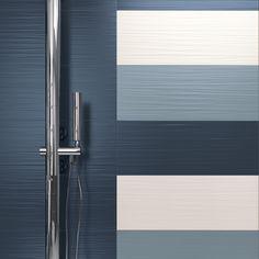Particolare del colore Blu, Avio e White. Formato 25x75.  Collezione Lace  http://www.supergres.com/your-home/rivestimenti/item/162-lace  #Bathroom #RivestimentoBagni #WallTiles #CeramisOfItaly