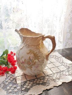Victorian Pitcher, Romantic Style Floral Pitcher Vase