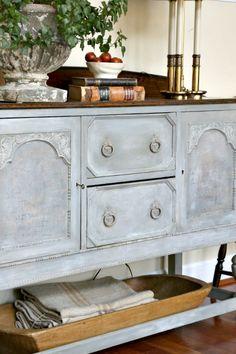 Blue gray painted sideboard, Miss Mustard Seed milk paint, Bergere, Mora, antique